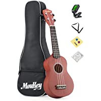 Moukey 4 21'' Basswood Soprano Ukulele Pack with Gig Bag, Tuner, Picks, Strap, Extra Strings and Cleaning Cloths, Glossy Brown B-BR