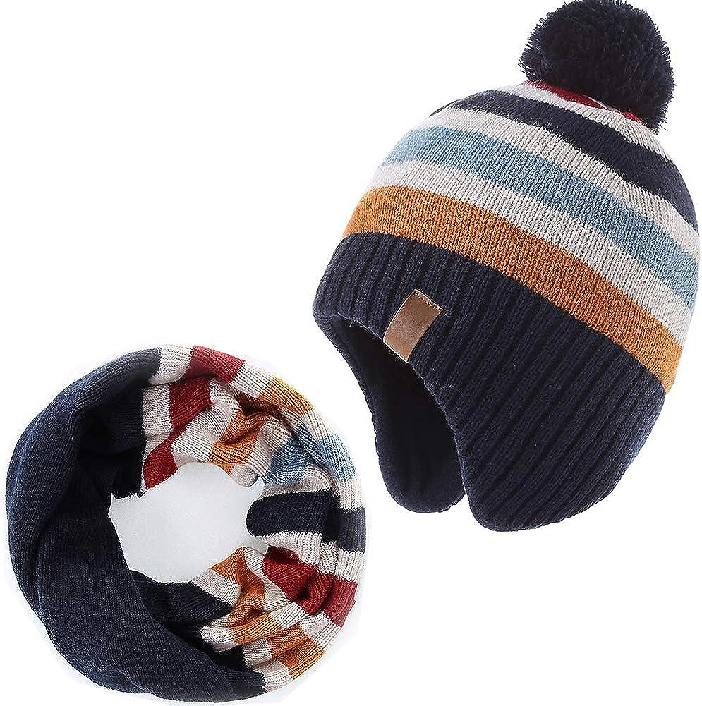 AHAHA Cappellino Lavorato a Maglia con Pompon e Cappellino a Maglia per Bambini e Ragazzi