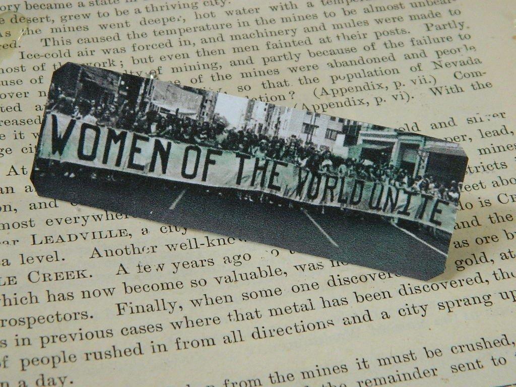 Feminist Jewelry Women of the World Unite Feminist lapel pin