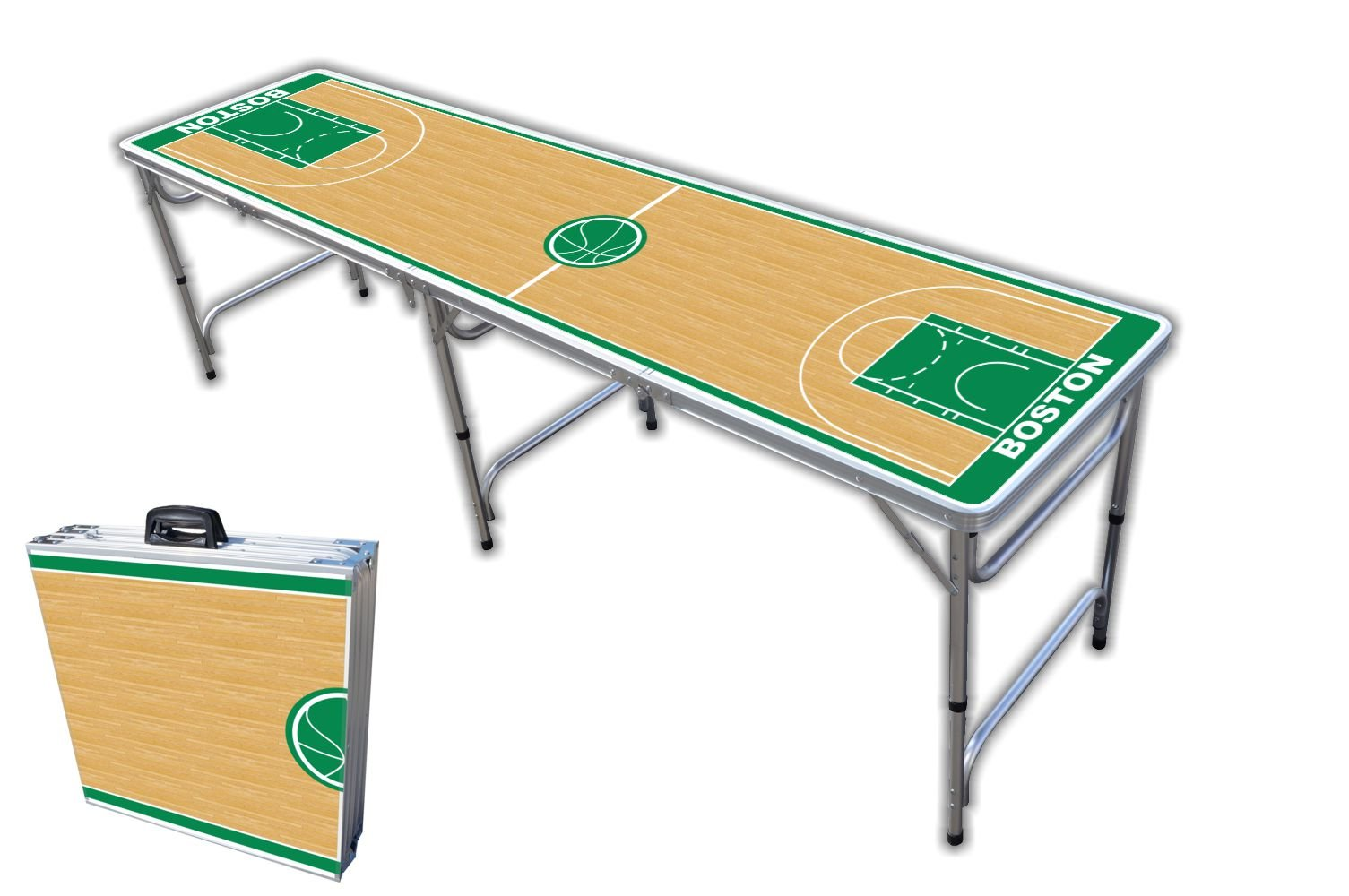 8-Foot Professional Beer Pong Table - Boston Basketball Court Graphic by PartyPongTables.com