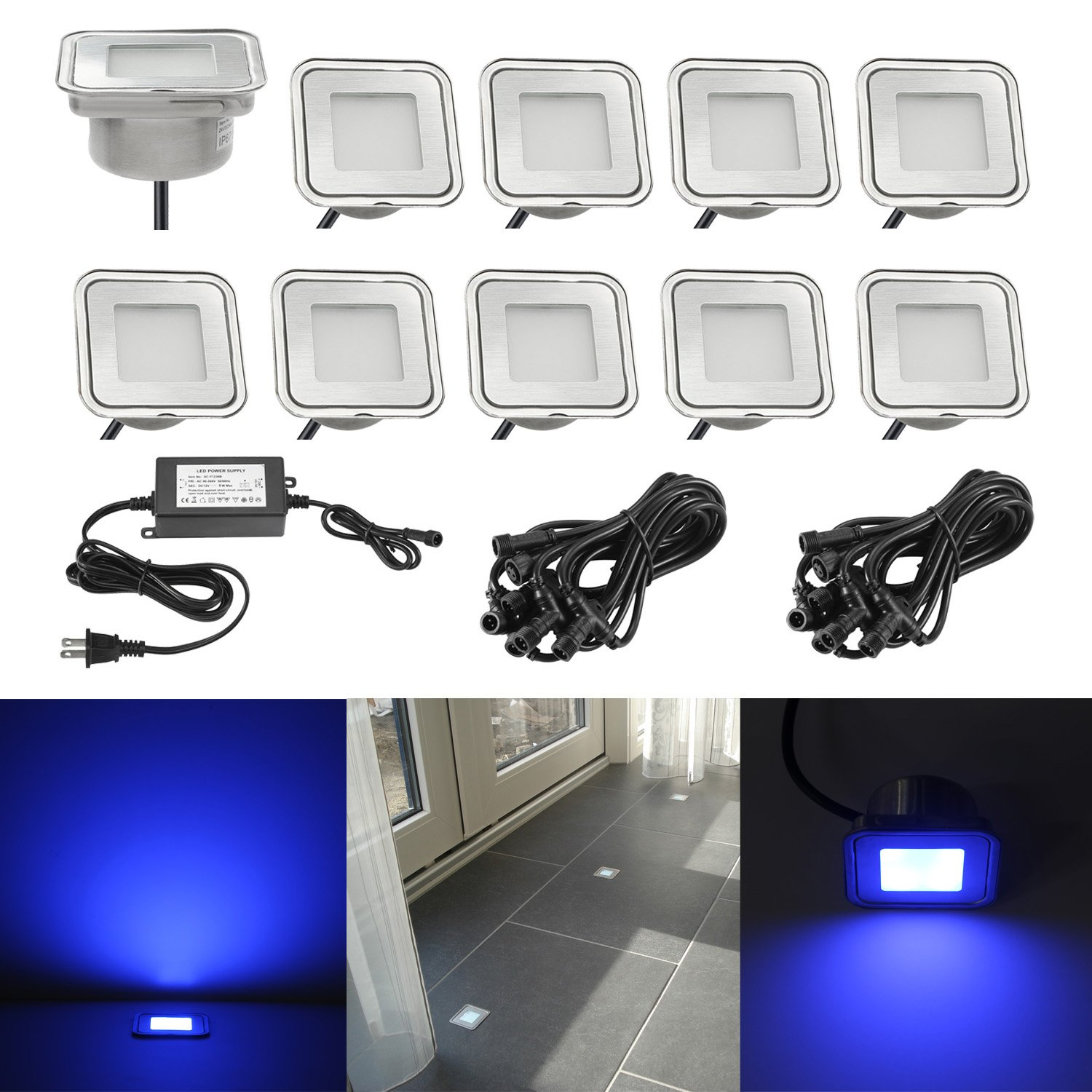 Low Voltage Stair Lights Outdoor, QACA DC 12V Deck Lighting Kits Waterproof IP67 In-Ground Lights for Steps Stair Patio Floor Pool Deck Kitchen Outdoor Led Landscape Lighting (10Pcs,Blue)