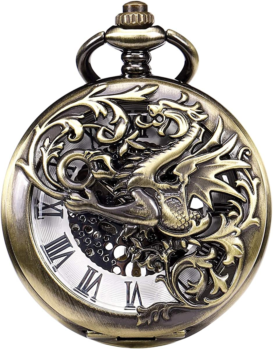 ManChDa Antiguo Negro Hunter Números Romanos Dragon y Phoenix Patrón Hueco Mecánico Reloj de Bolsillo + Caja de Regalo