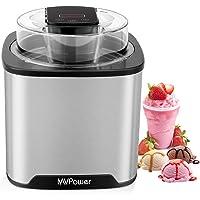 MVPower IJsmaker Ijsmachine RVS met digitale timer Voor ijs bevroren yoghurt en sorbets met dekselopening - 2L