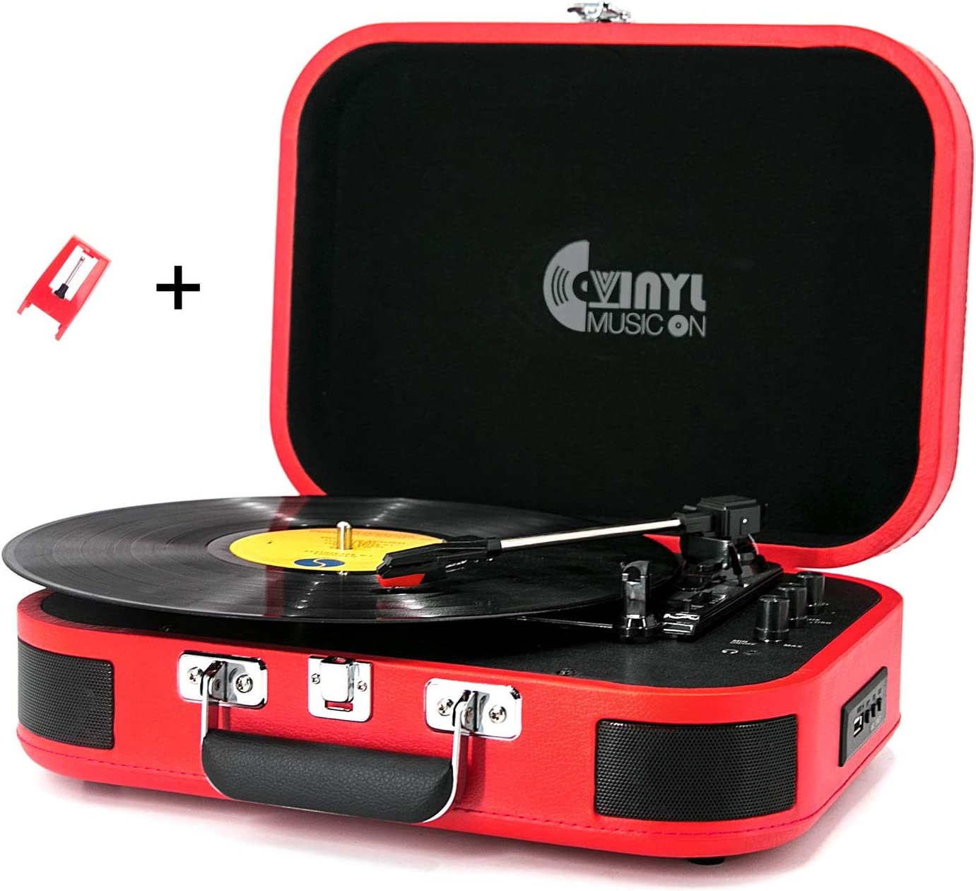 USB Bluetooth Record Player with Stereo Speakers,3 Speed Briefcase Turntable with USB Play&Encoding, Pitch Control and RCA Output&Aux Input,Red