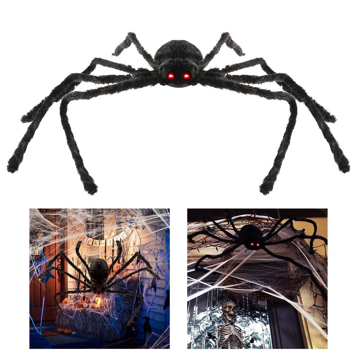 VVigor Giant Halloween Decorations Spiders, Foldable Scary Huge Spiders Haunted House Prop, Outdoor Indoor Yard Décor (1, black) (4.9ft)