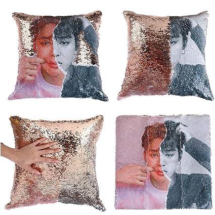 Amazon.com: Hosston Kpop BTS Magic Reversible Sequins Pillow ...