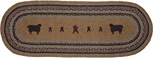 VHC Brands 37912 Primitive Tabletop & Kitchen - Heritage Farms Tan Sheep Oval Jute Runner, 13x36, Mustard Yellow