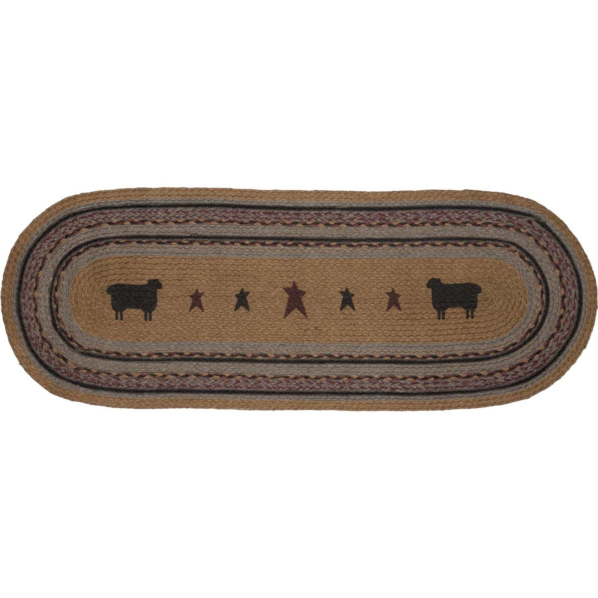 VHC Brands Primitive Tabletop & Kitchen - Heritage Farms Tan Sheep Oval Jute Runner, 13x36,