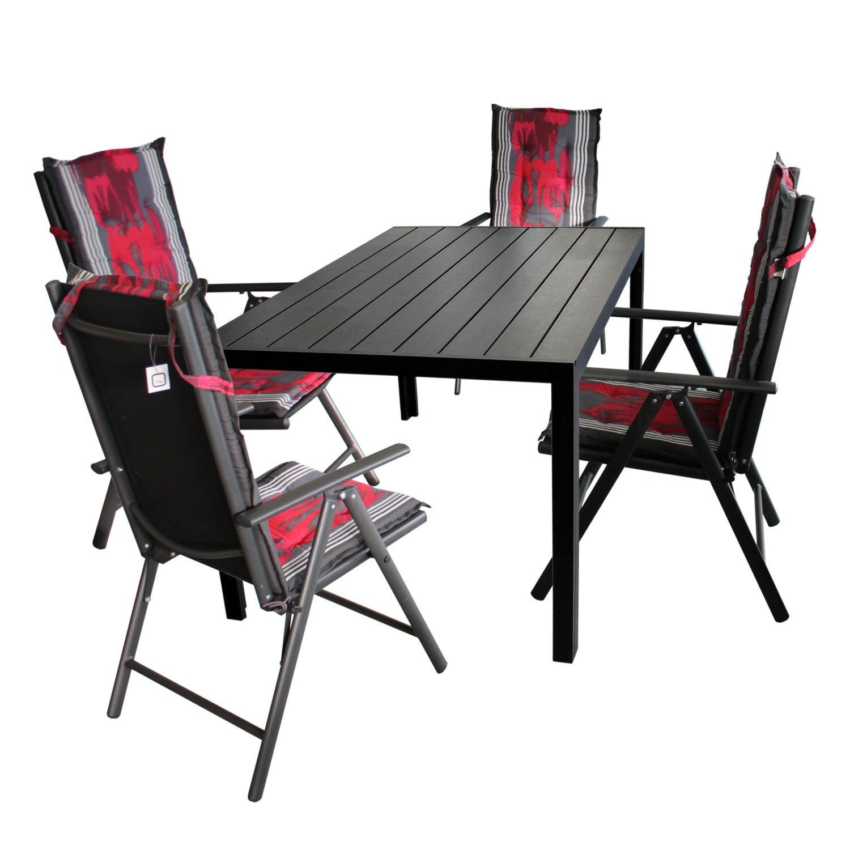 Gartengarnitur Gartentisch, Polywood Tischplatte Schwarz, Aluminiumrahmen, 150x90cm + 4x Hochlehner, Aluminiumgestell, Textilenbespannung Schwarz + 4x Polsterauflage East Harlem