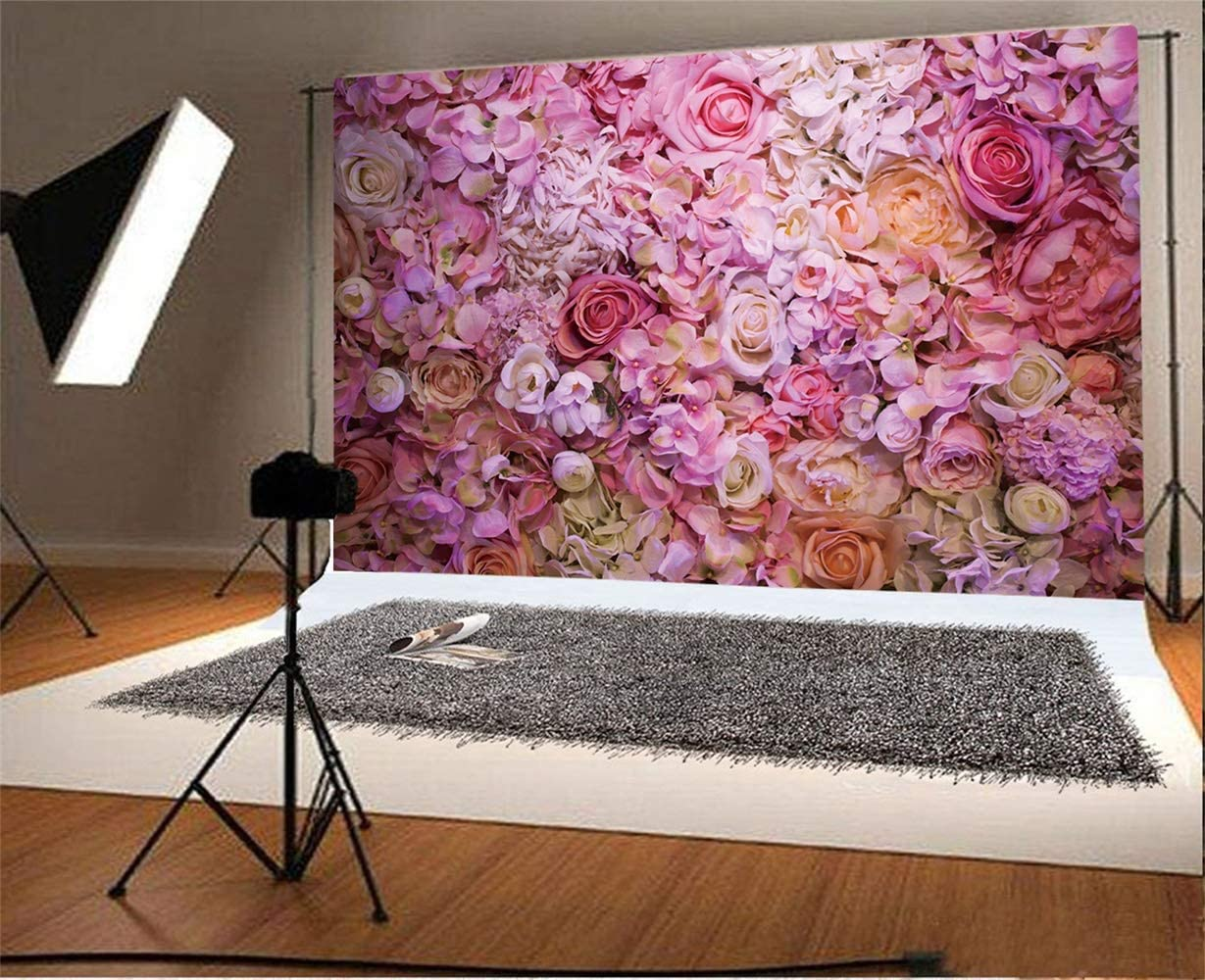 Romantic Purple Rose Flower Wall Backdrop 10x6.5ft Polyester Floral Wedding Stage Bridal Shower Party Banner Bride Groom Shoot Background Girl Birthday Party Newborn Adult Artistic Portrait Shoot