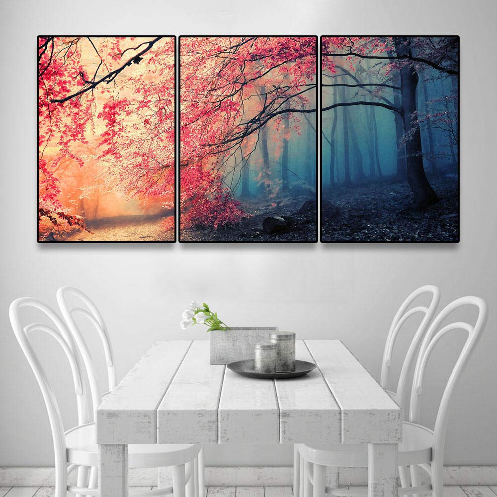 Mosaic Diamond Painting Puzzles Red Tree Diamond Embroidery Painting by Numbers Triptych Diamond Painting Cross Stitch@Round_70X90Cmx3Pcs by YANJUNHONG