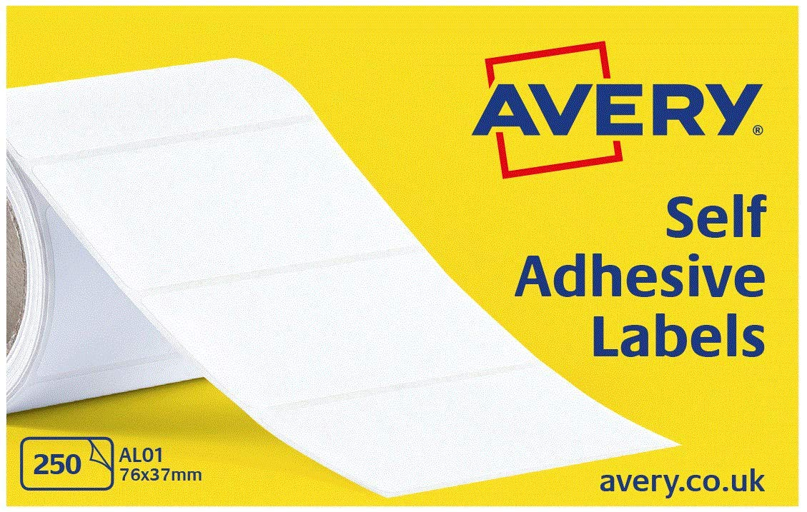 Avery Self Adhesive Address Mailing Labels on a Roll, 250 Per Roll, (AL01), White