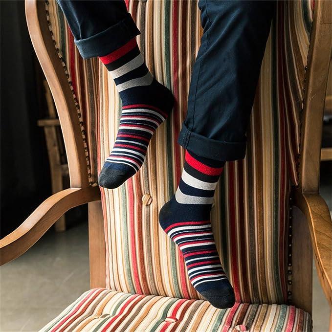Cozylkx 5Pair Mens Long Print Striped Sock Casual Colorful ...