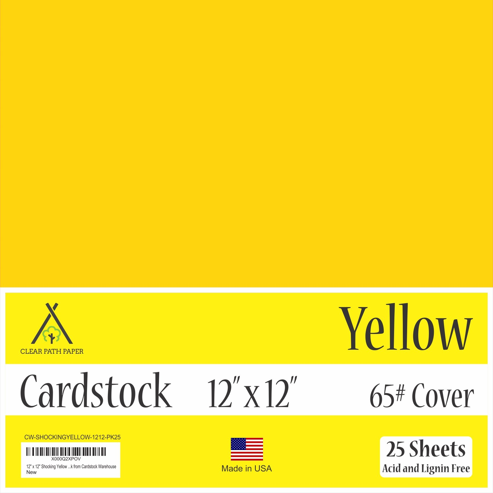 Yellow Cardstock - 12 x 12 inch - 65Lb Cover - 25 Sheets
