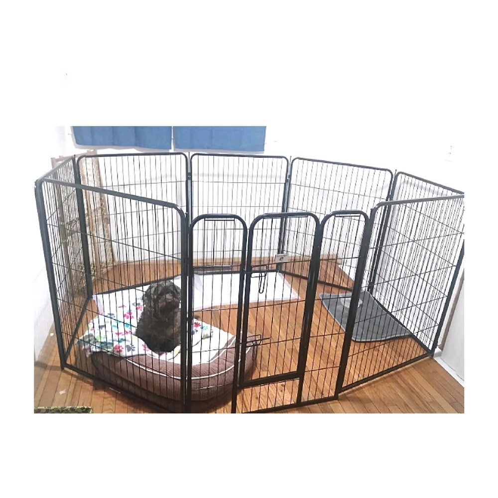 Tall Exercise Pen Extra Large Heavy Duty 40-Inch with Door Big Dog Black Pet 8 Panels Playpen & eBook by OISTRIA