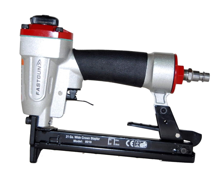 Grapadora Neumá tica FASTGUN FG 8016 para grapa Tipo 80 de 6 a 16 mm + 2.000 Grapas 80/8 mm + Maletí n + Aceite para engrase + Llaves allen