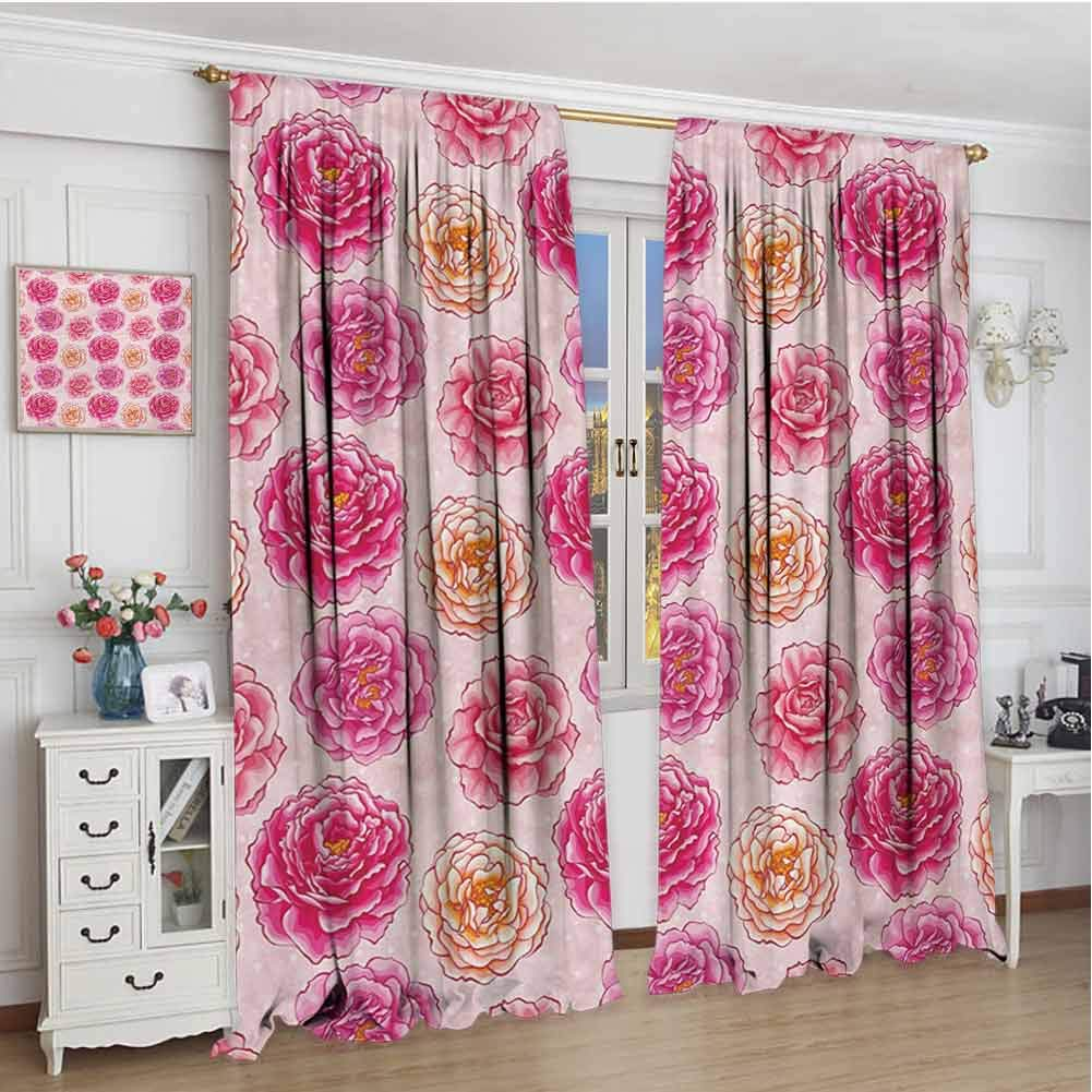 GUUVOR Floral Blackout Curtain Romantic Rose Petals Fragrance Bouquets Love Classic Blooms Graphic 2 Panel Sets W108 x L72 Inch Magenta Pale Pink Coral