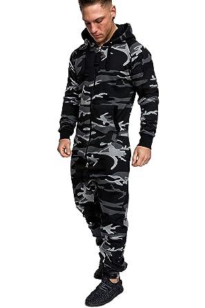 Amaci Sons Herren Overall Jumpsuit Jogging Onesie Trainingsanzug Camouflage  3001 Camo Black Black S 9f6db15362