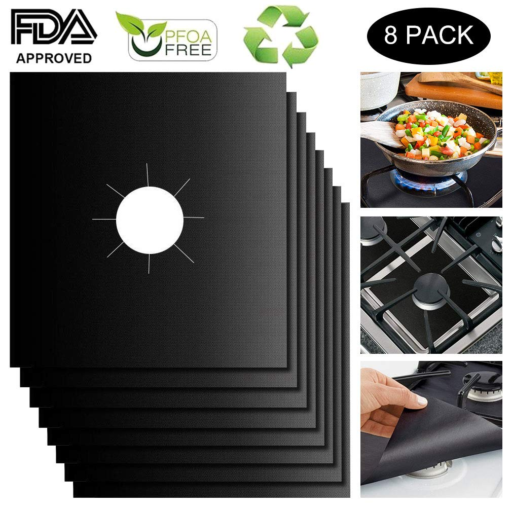 Gas Range Protectors Stove Burner Covers Gas Hob Liner FDA Approved Non-stick Stovetop Protector Liner Cover Reusable Dishwasher Safe Fast Clean Stovetop Burner Liners, 10.63''x10.63'', 8 Packs