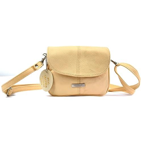 65de631bd0 Ladies Handy Leather Cross Body Bag Lightweight Purse (Beige ...