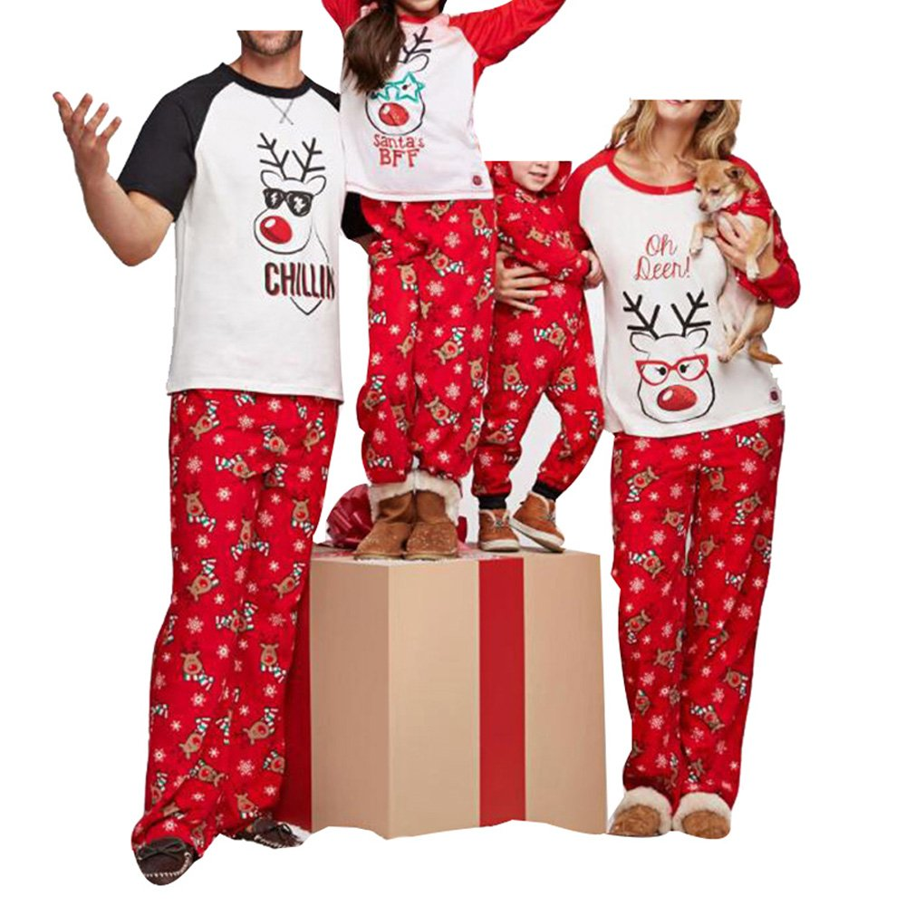 WensLTD Family Matching Christmas Pajamas Set - Deer Tops and Long Pants Sleepwear for Family