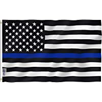 Anley Fly Breeze 3x5 Foot Thin Blue Line USA Flag - Vivid Color and Fade Proof - Canvas Header and Double Stitched - Honoring Law Enforcement Officers Flags Polyester with Brass Grommets