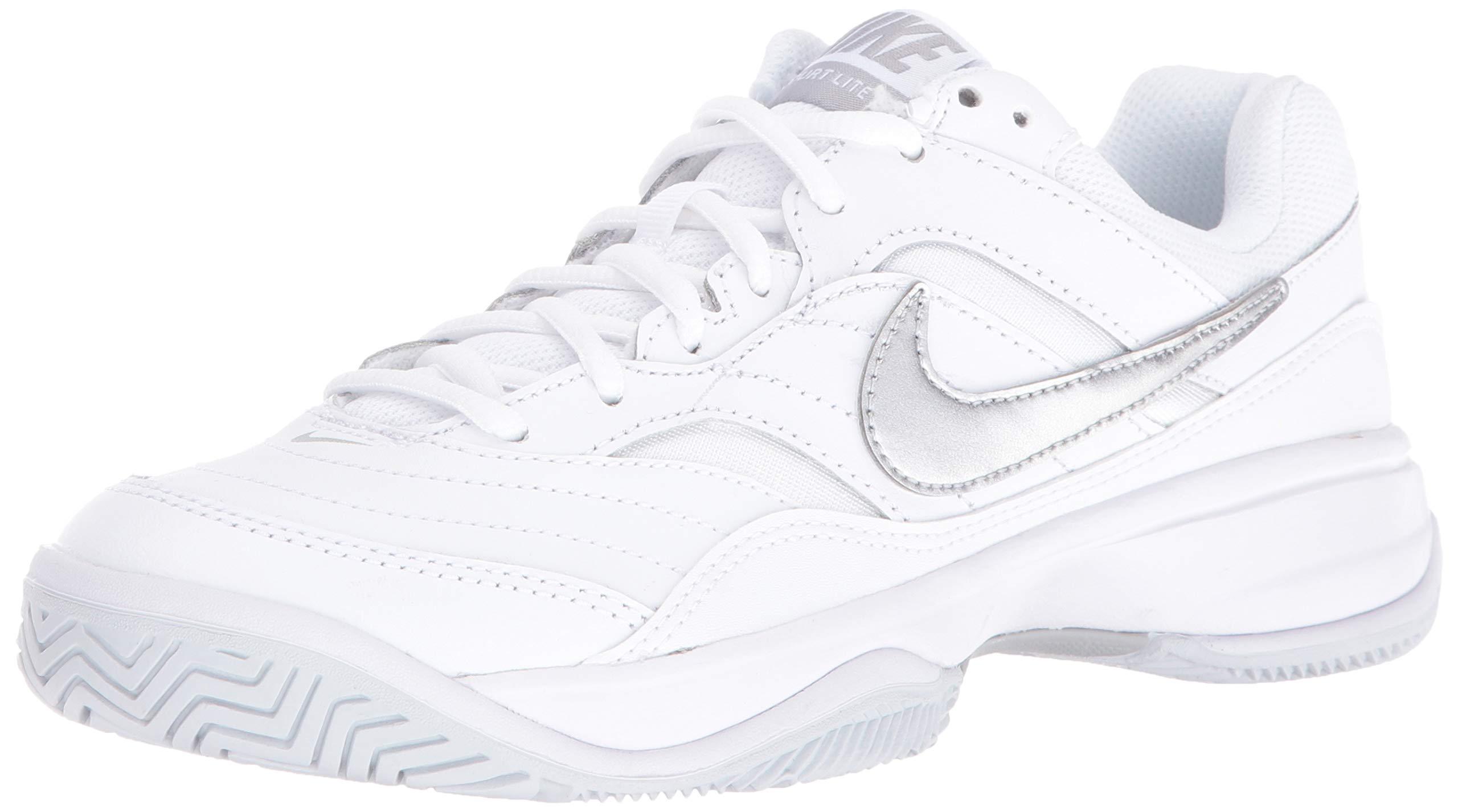 Nike Women's Court Lite Tennis Shoe, White/Metallic Silver/Medium Grey, 5 Regular US
