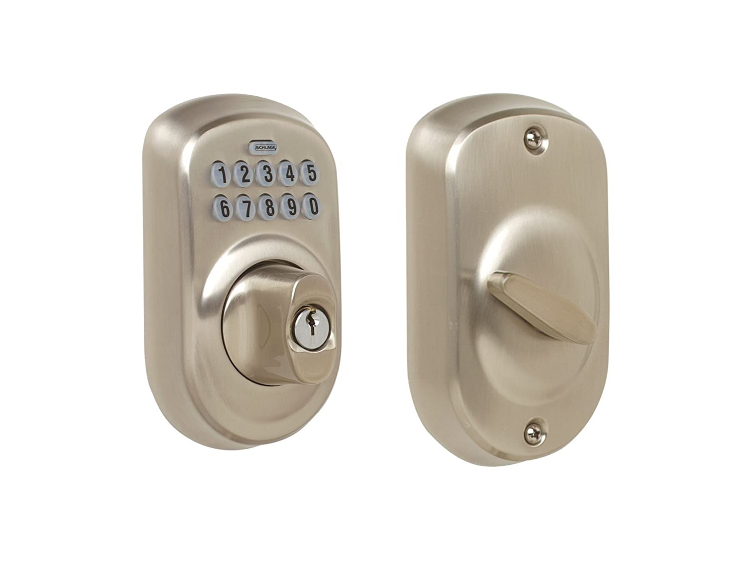Schlage BE365 PLY 619 Plymouth Keypad Deadbolt Satin Nickel - Door Dead Bolts - Amazon.com