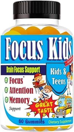 Focus Kids Focus Memory & Concentration Brain Gummies for Focus for Kids and Teens, Focus Vitamins Kids Brain Supplement DHA Omega 3 6 9 School Study Task Booster Formula