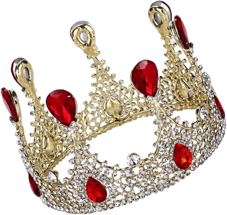 Lurrose Couronne Baroque Vintage Diad/ème Bandeau Cristal Strass Bijoux de Cheveux pour Femmes Princesse Anniversaire Mariage Saint Valentin