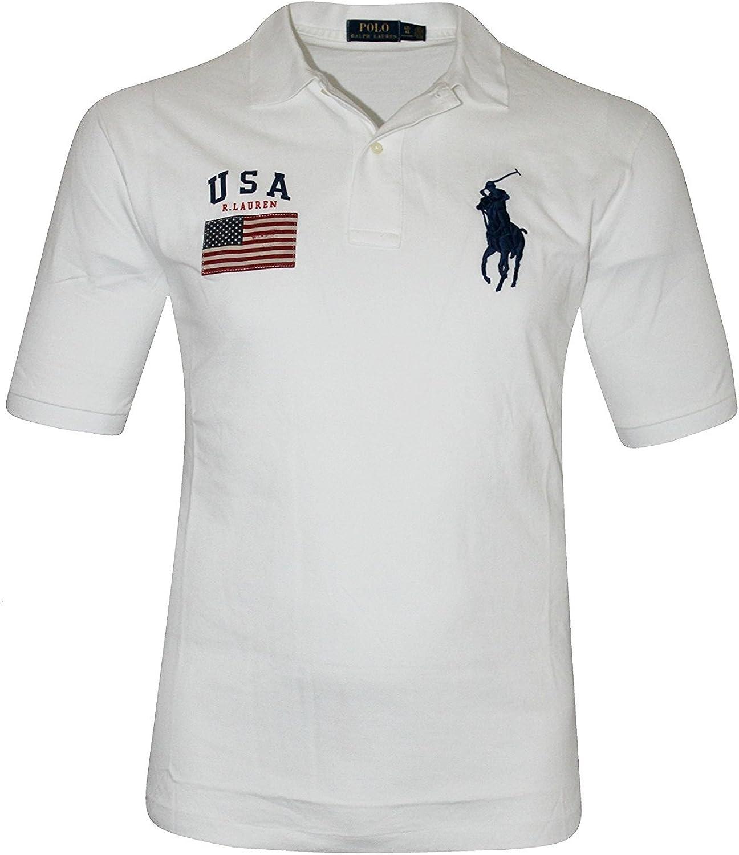Ralph Lauren Mens Navy Black White US USA Flag Pony Logo Short Sleeve Polo Shirt