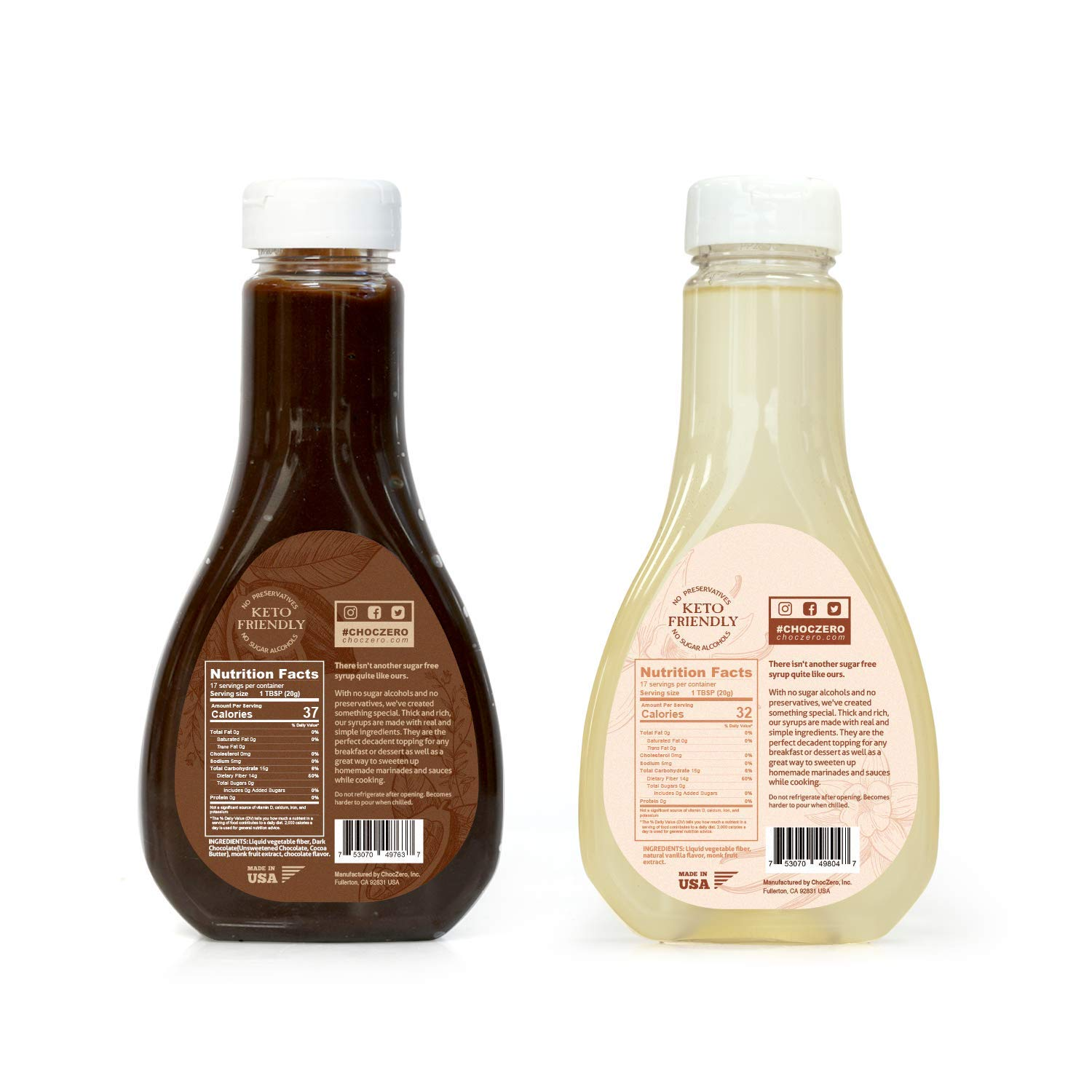 ChocZero's Chocolate and Vanilla Syrup. Sugar Free, Low Net Carb, No Preservatives. Gluten Free. No Sugar Alcohols. Dessert toppings and baking syrups for keto (2 bottles) by ChocZero (Image #2)