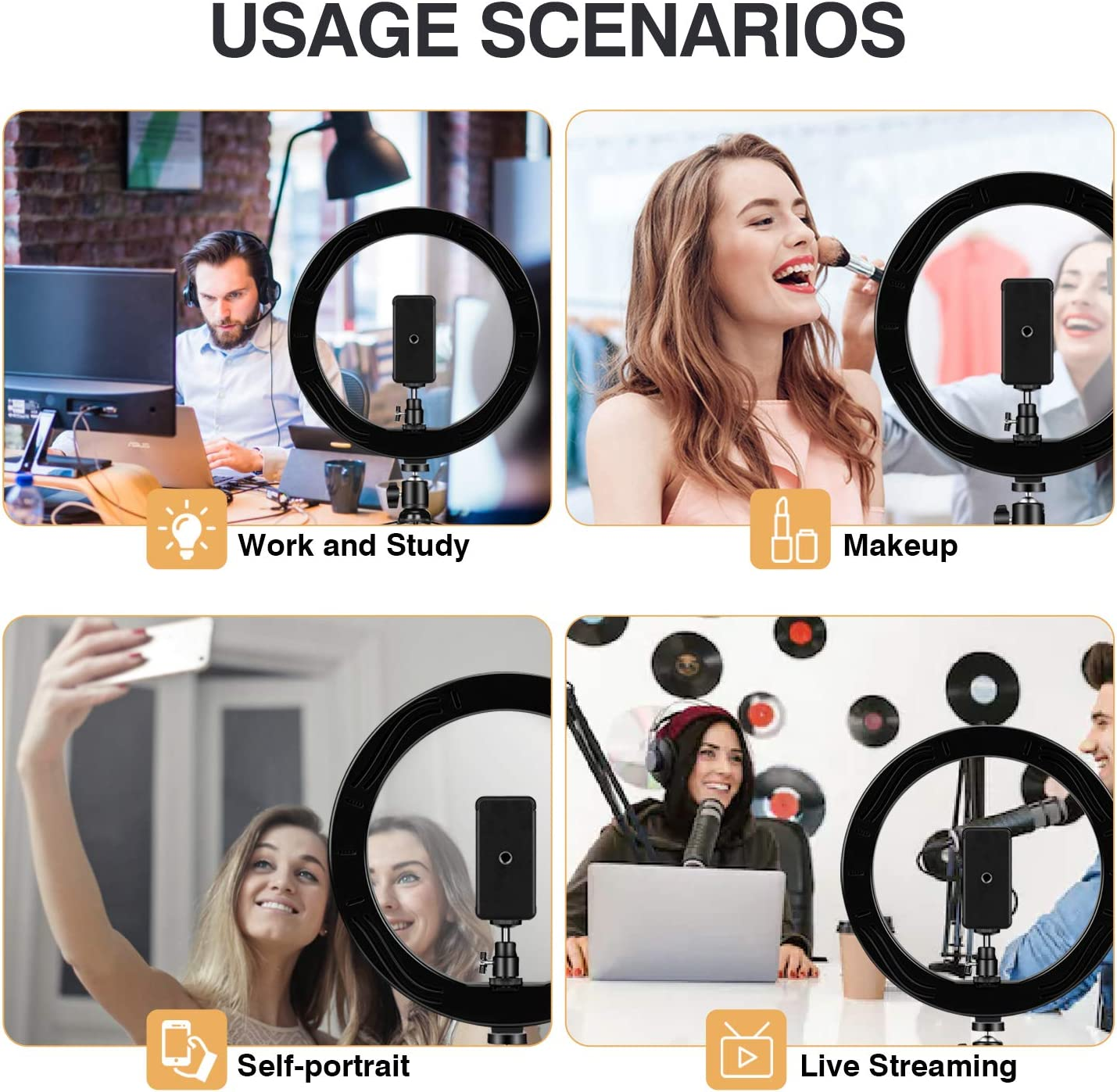 Makeup,Live Streaming /& YouTube Video Powsure 10 LED Ring Light with Tripod Stand /& Phone Holder for Selfie Dimmable Desk Ringlight Kit for Photography with 3 Light Modes/&10 Brightness Level