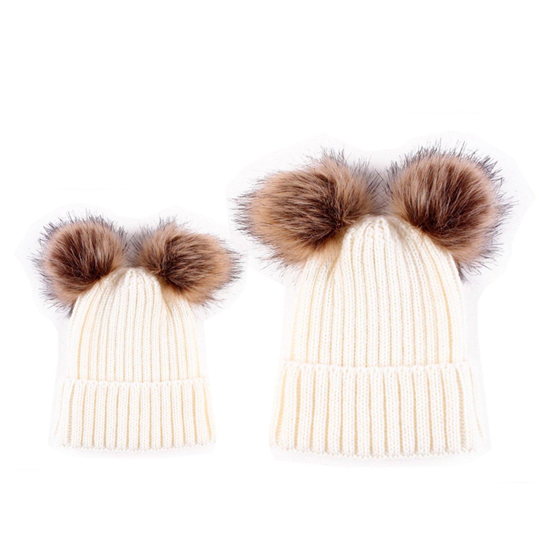 HMILYDYK 2 adultos y niños de cable Knit Beanie gorro piel sintética ...