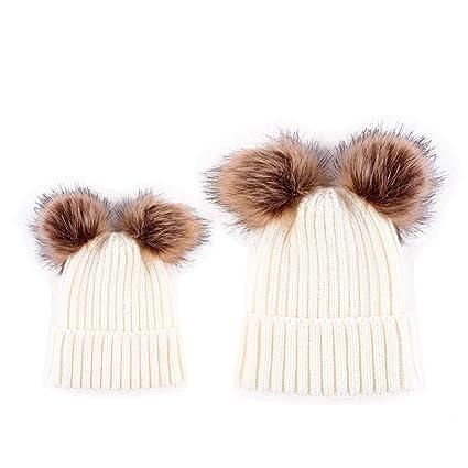 f24739801 Amazon.com: HMILYDYK 2PCS Parent-child Cable Knitted Beanie Hat Soft ...