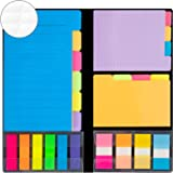 JARLINK 976-in-1 Divider Sticky Notes Set, Super Sticky Page Markers Prioritize with Color Coding, 78 Ruled, 80 Dotted, 80 Bl
