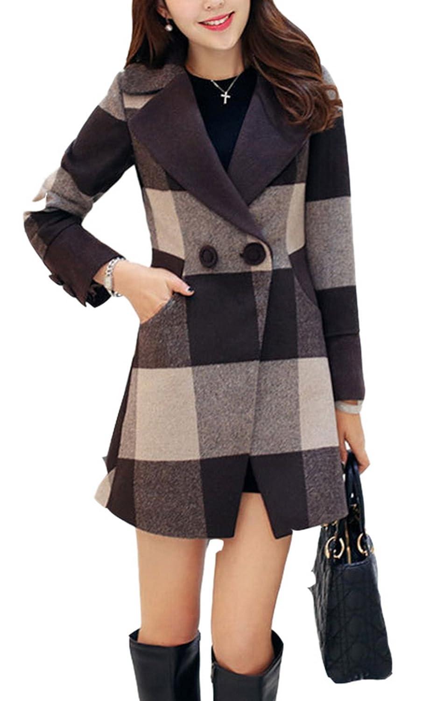 Allbebe Women's Winter Elegant Grid Print Button Pockets Front Midi Wool Coat