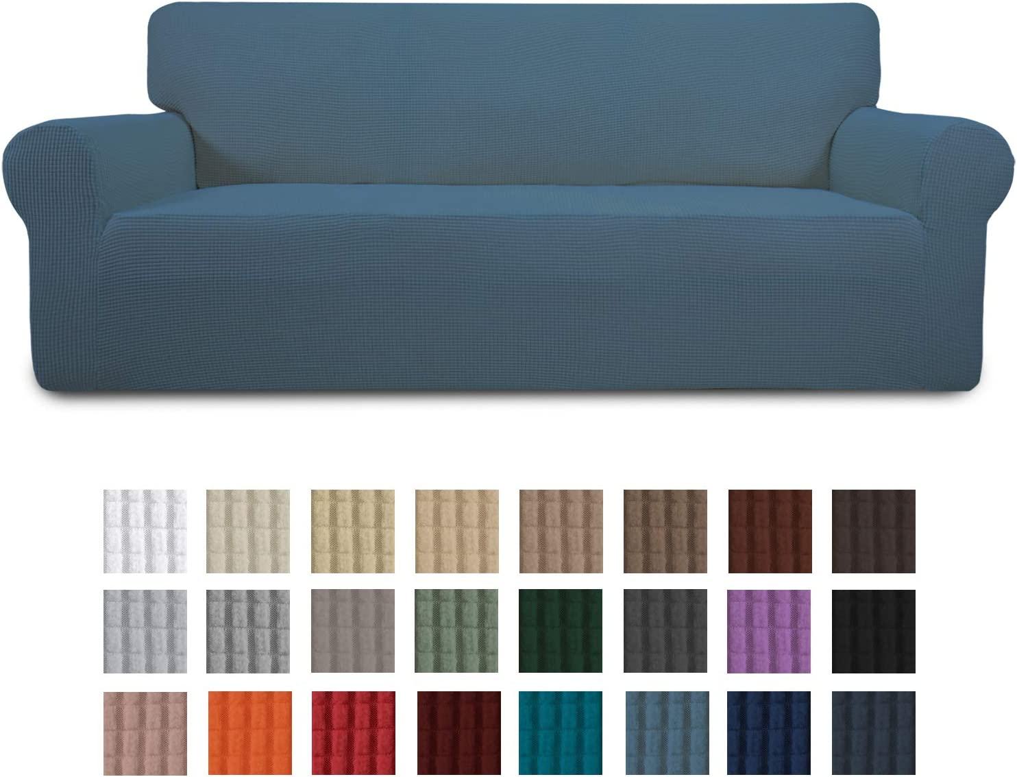 Easy-Going Stretch Oversized Sofa Slipcover 1-Piece Couch Sofa Cover Furniture Protector Soft with Elastic Bottom for Kids, Spandex Jacquard Fabric Small Checks(X Large,Bluestone)