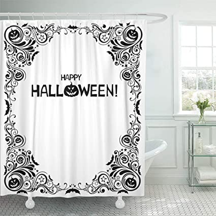 Emvency Shower Curtain Black Abstract Happy Halloween Celebration White With Bat Pumpkin Star And Place For