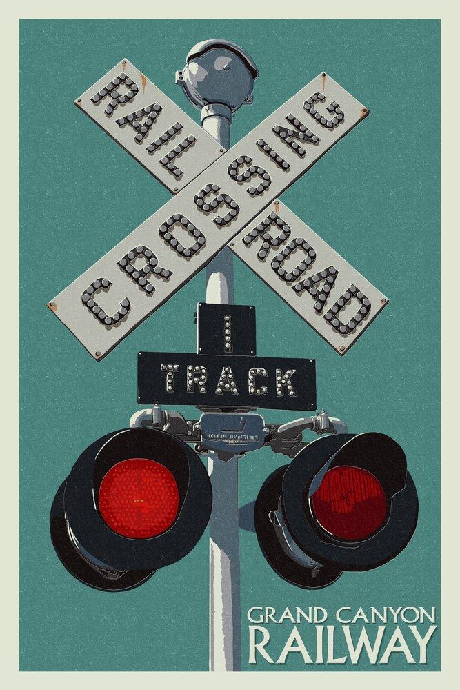 Grand Canyon鉄道、アリゾナ州 – Railroad Crossing 24 x 36 Signed Art Print LANT-49892-710 B07B2C2V7Y  24 x 36 Signed Art Print