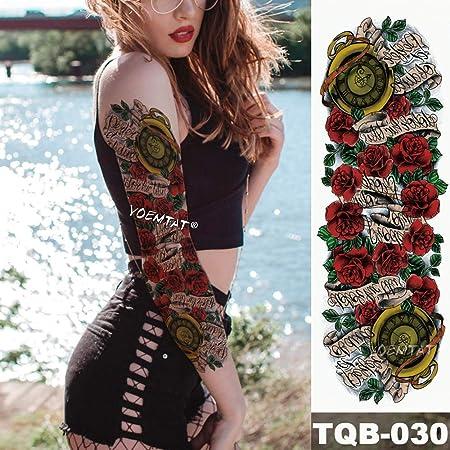 tzxdbh Nueva Etiqueta engomada Temporal del Tatuaje Rose Scroll ...