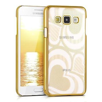 kwmobile Funda para Samsung Galaxy A3 (2015) - Carcasa de [plástico] para móvil - Protector [Trasero] en [Dorado/Transparente]