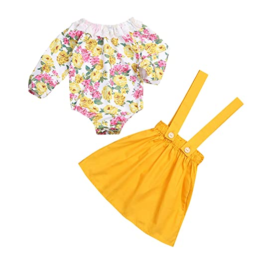 42c84f1530c Baby Girls Floral Suspenders Skirts Set Long Sleeve Romper + Yellow Skirts  Outfits (Yellow