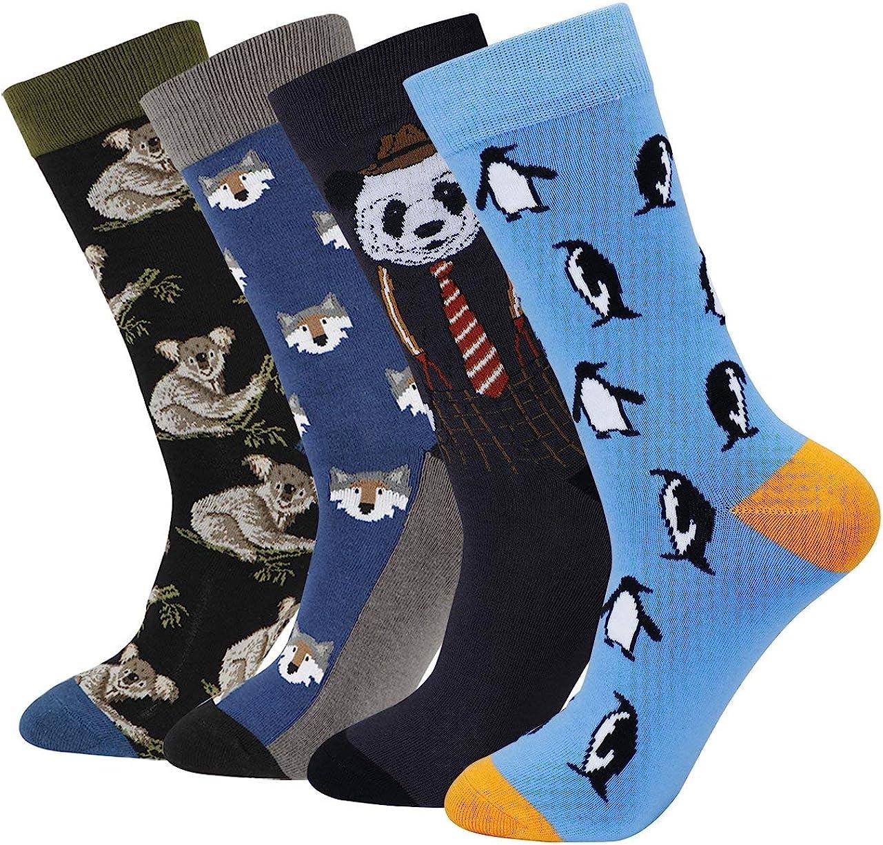 Men's Fun Funky Casual Colorful Animal Pattern Long Dress Crew Socks