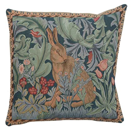 Woven European Jacquard Tapestry Cushion Covers. Rabbit As William Morris  14 X 14u0026quot;