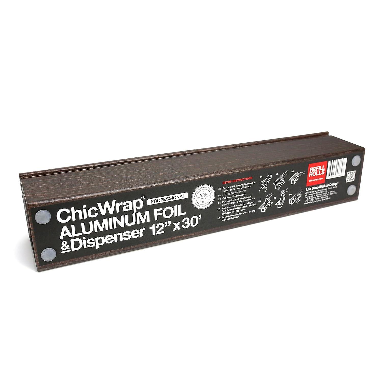 reutilizable con tecnolog/ía de cortador deslizante ChicWrap Dispensador de papel de aluminio de grano de madera con rollo de papel de aluminio profesional de 12 pulgadas x 30 pies