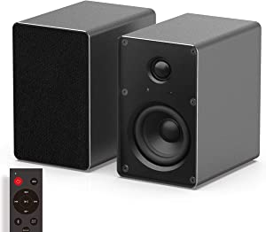 KEiiD PC Computer Speaker, Bluetooth Stereo System with Aluminum Housing, Bookshelf Speaker for Home Audio System, Studio Monitor Speaker with Optical AUX Input, for Turntable/CD Player/PC/Laptop/TV