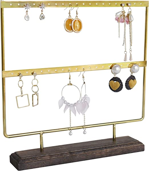 Amazon Com Nikky Home Earring Holder Jewelry Rack Organizer Stand Display 2 Layers 40 Holes Gold Home Kitchen