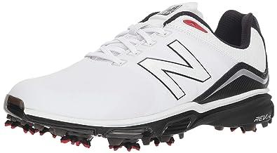 e204f08ae368d New Balance Men's NB Tour Waterproof Spiked Comfort Golf Shoe, White/Black,  8