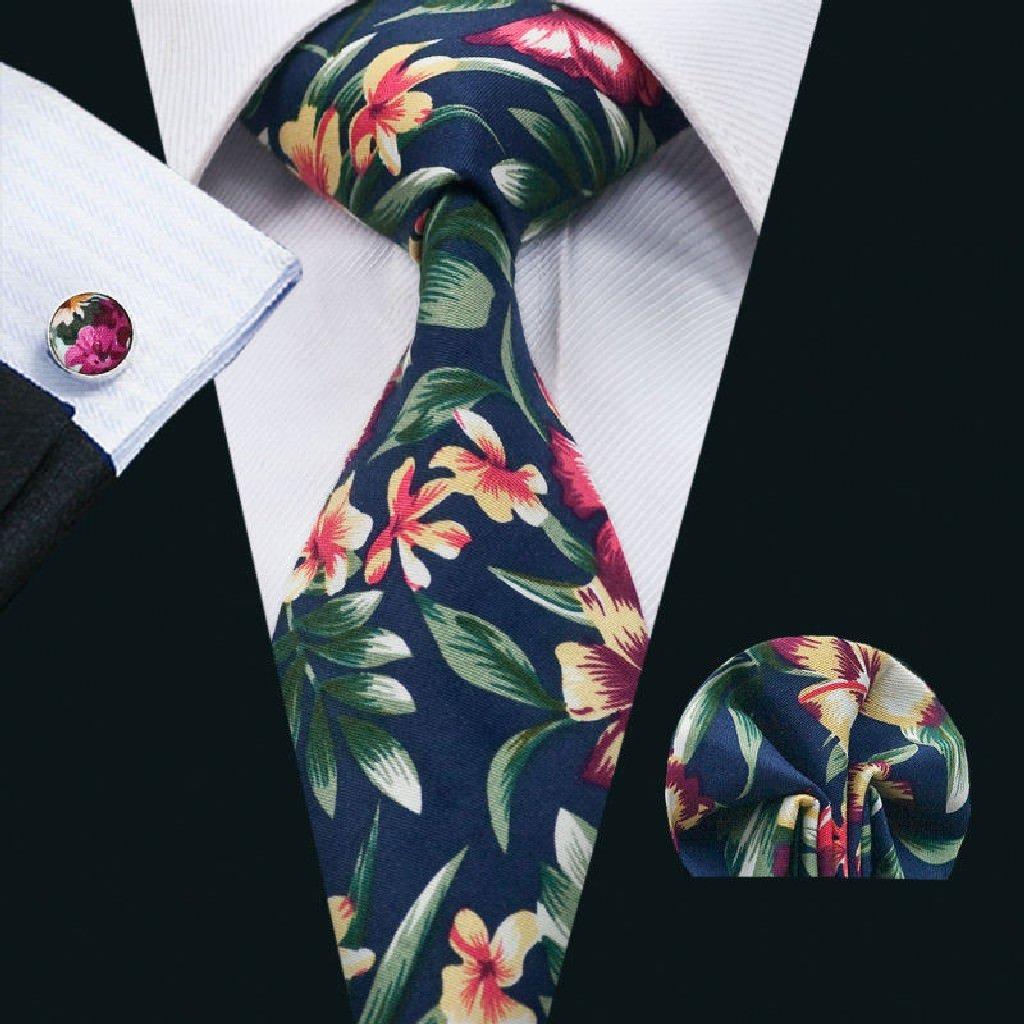 Floral Mens Tie Silk Woven NeckTie Hanky Cufflink Set for Work Formal Wedding